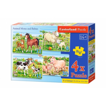 PUZZLE 4U1(8+12+15+20) DELOVA B-04416-2 ANIMALS MOM AND BABIES CASTORLAND