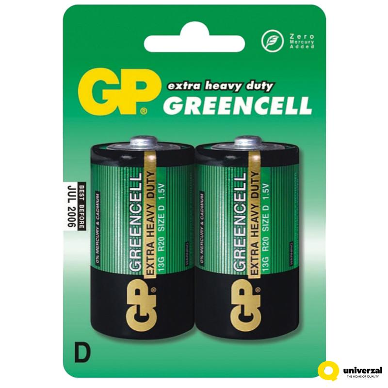 BATERIJE GP GREENCELL 2/1 R20 1.5V 13GU2